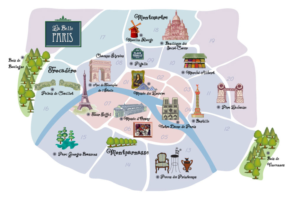 Paris arrondissementer kart